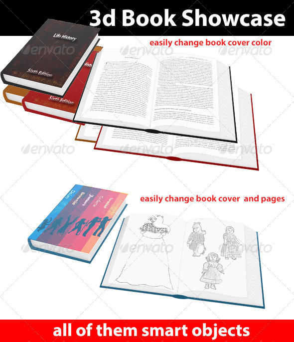 3d Book Showcase - Books Print