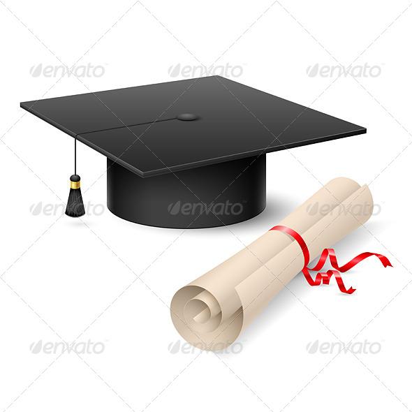 Graduation Cap and Diploma - Objects Vectors