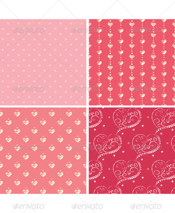 Retro Heart Seamless Set - Backgrounds Decorative