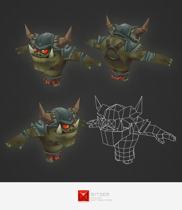 Low Poly Orc Warrior - 3DOcean Item for Sale