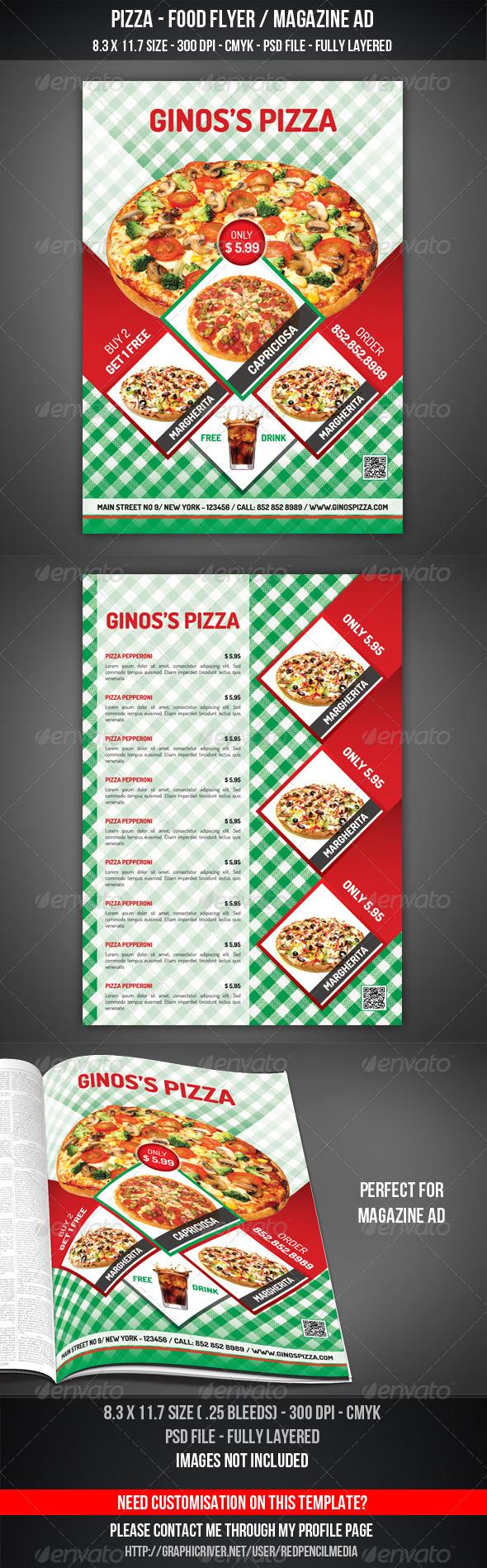 Pizza - Food Flyer / Magazine AD - Flyers Print Templates