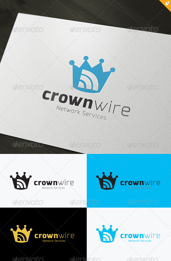 Crown Wire Logo - Vector Abstract