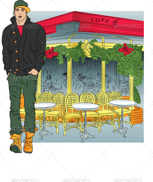 Vector Stylish Guy in Paris - People Characters
