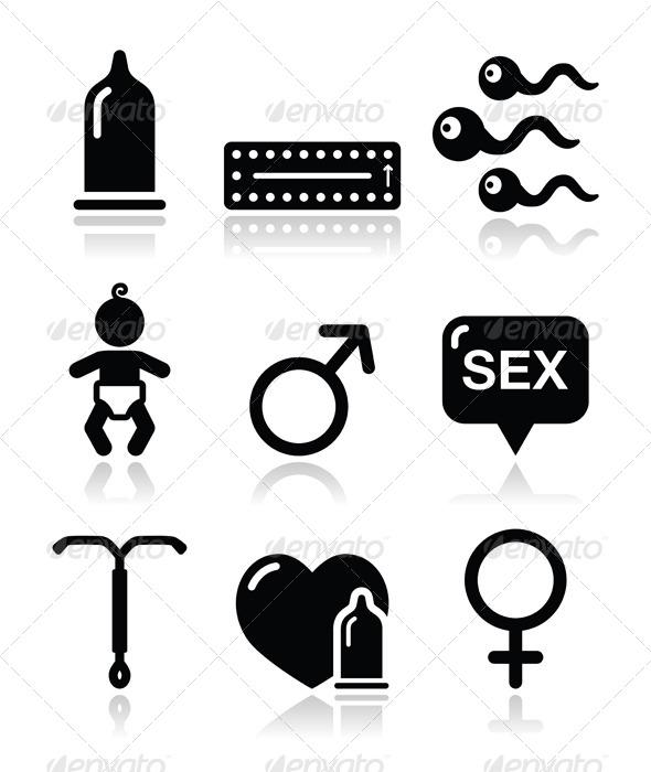 Contraception Methods Icons - Health/Medicine Conceptual