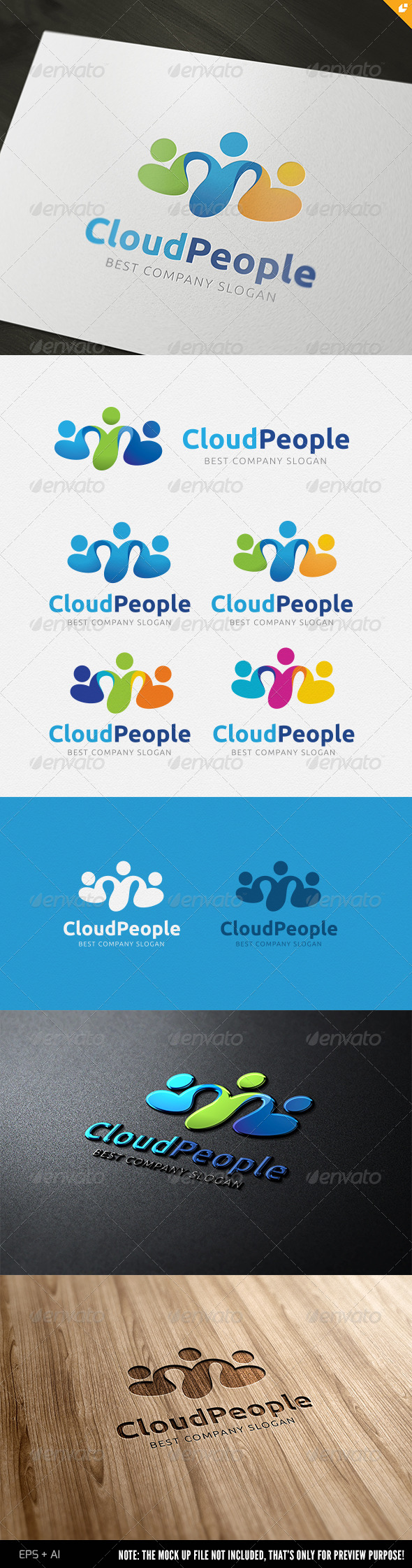 Cloud People Logo - 3d Abstract