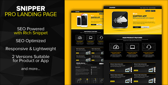 SNIPPER Landing Page Powered with Rich Snippets