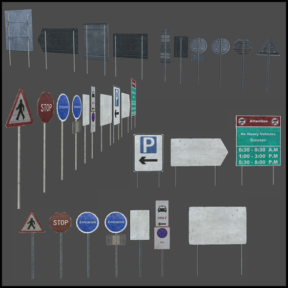 Traffic Signs - 3DOcean Item for Sale