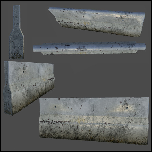 Concrete Roadblock - 3DOcean Item for Sale