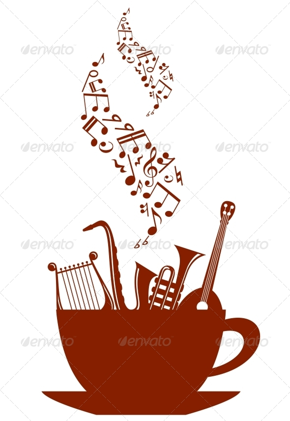 Musical Cup of Tea or Coffee - Miscellaneous Vectors
