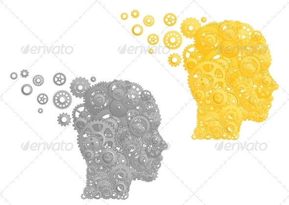 Human Head with Gears and Pinions - Miscellaneous Conceptual