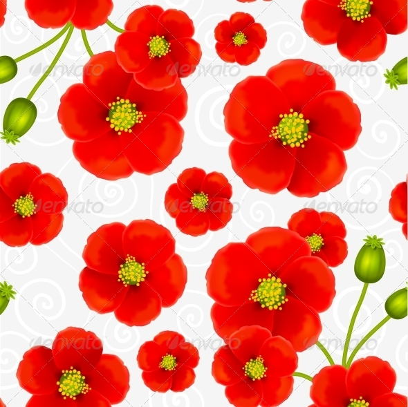 Red Poppy Flowers Vector Seamless Pattern - Flowers & Plants Nature