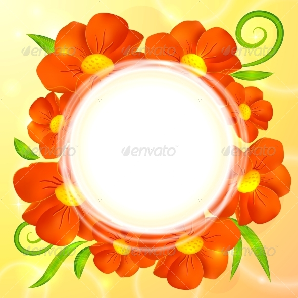 Orange Realistic Flowers Vector Round Background - Flowers & Plants Nature