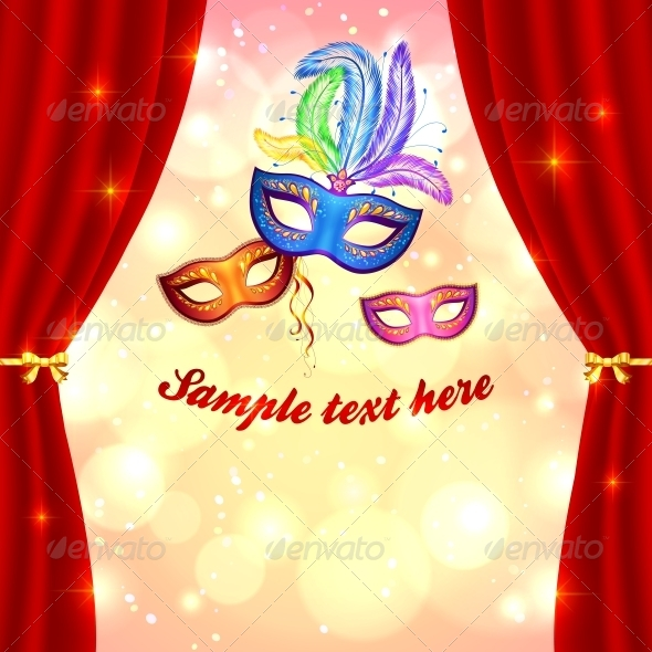 Carnival Poster Template with Masks and Curtain - Miscellaneous Seasons/Holidays