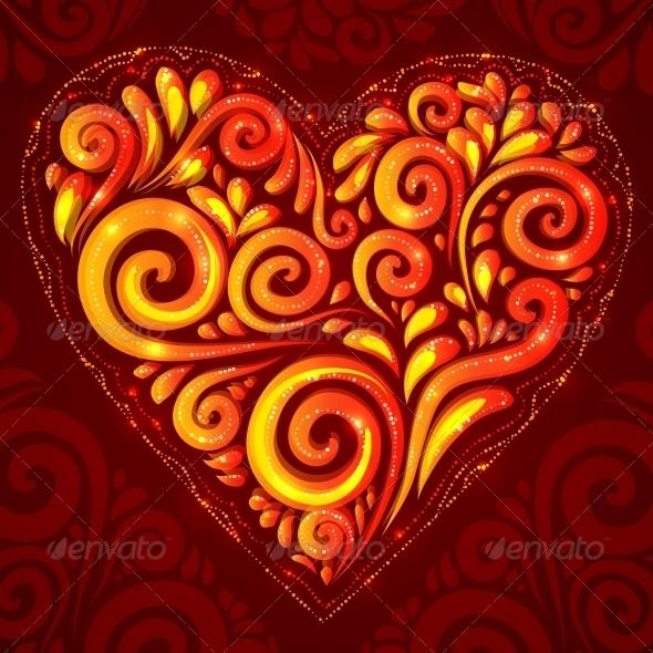 Red Vector Shining Heart on Ornate Background - Decorative Symbols Decorative