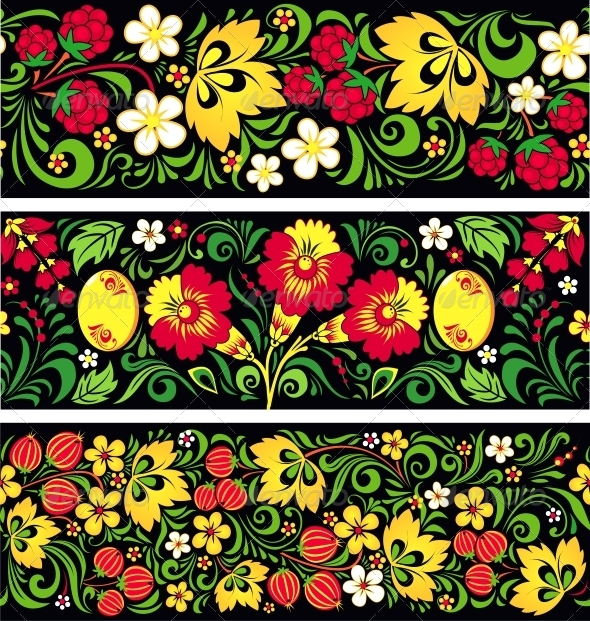 Patterns in Traditional Russian Style Hohloma - Flowers & Plants Nature