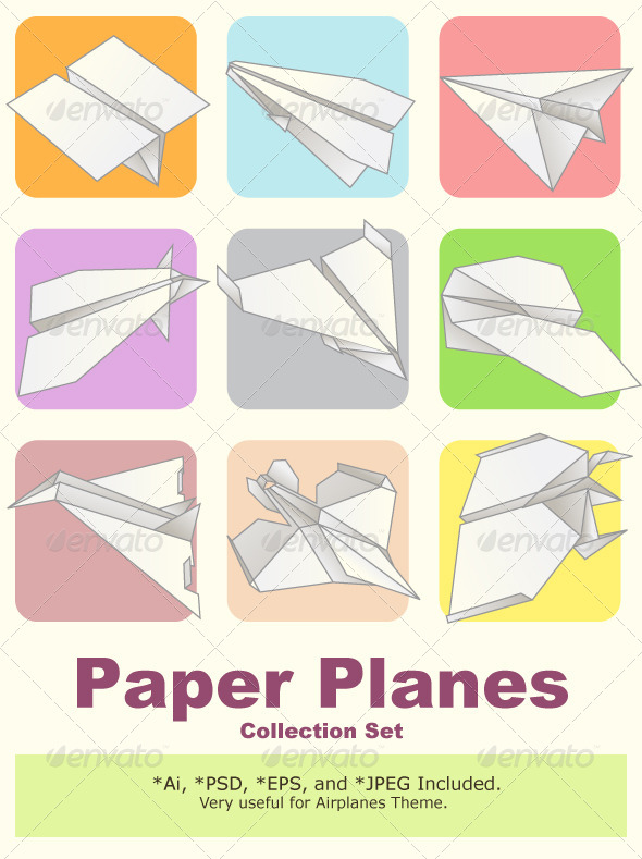 Paper Plane Model Collection Set By Branca_Escova | Graphicriver