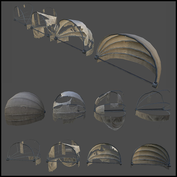 Round Awning - 3DOcean Item for Sale