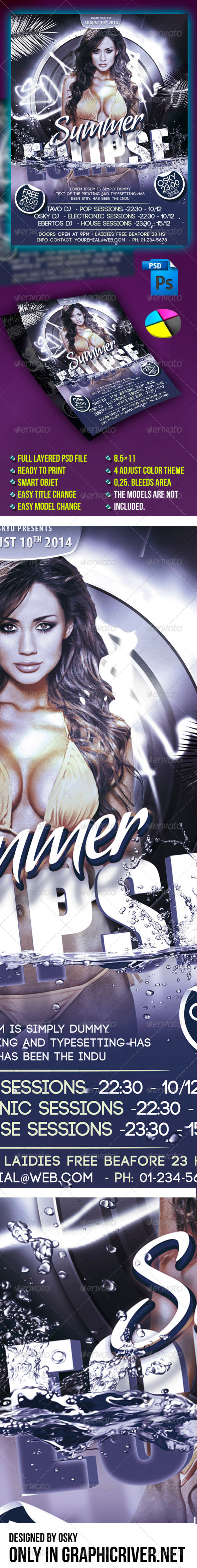 Summer Eclipse Flyer - Clubs & Parties Events
