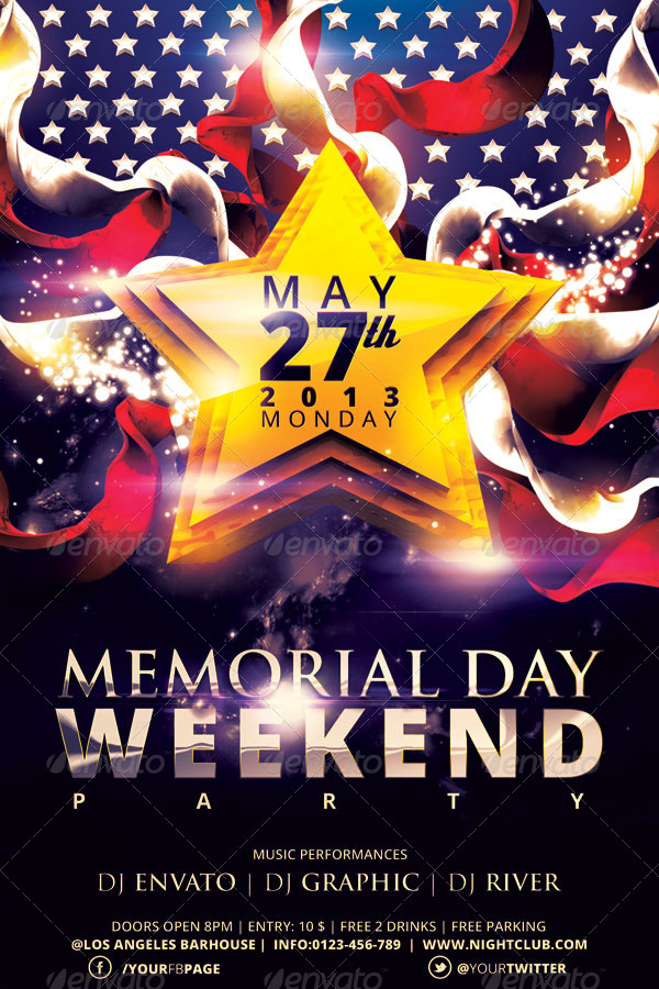 Memorial Day Weekend Party Flyer Template by hermz | GraphicRiver