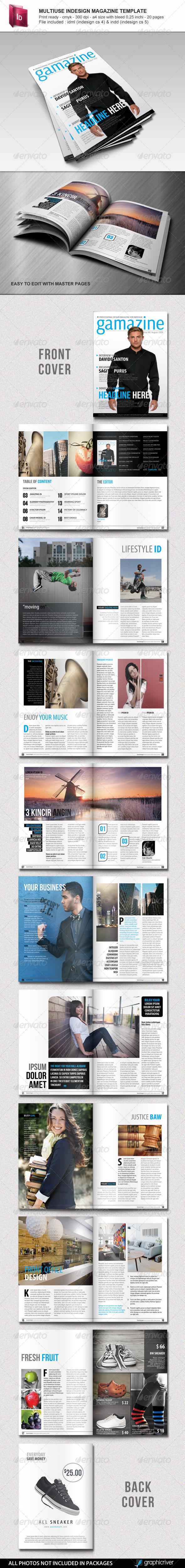 Multiuse Indesign Magazine Template - Magazines Print Templates