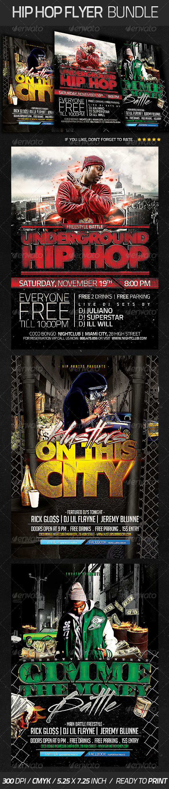 Hip Hop Flyer Bundle - Clubs & Parties Events