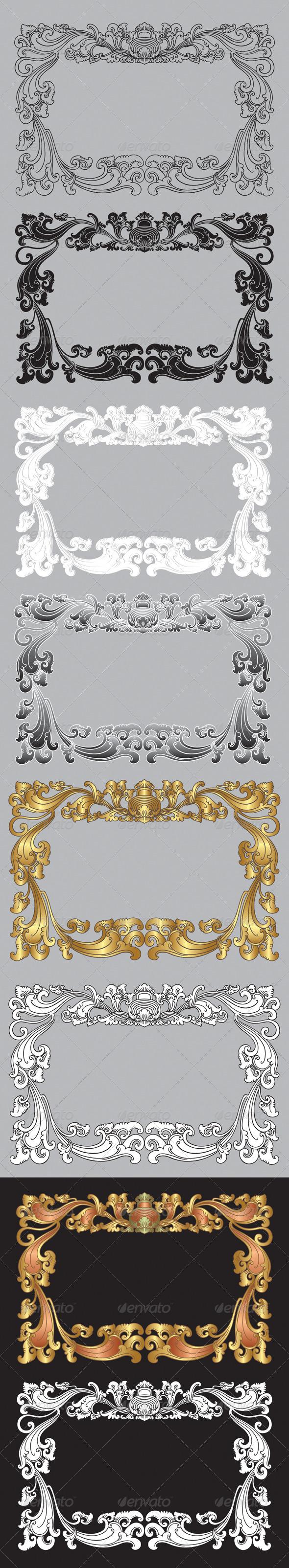Balinese Ornament Frame 2 - Flourishes / Swirls Decorative