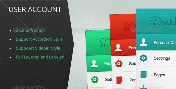 User Account Menus - Navigation Bars Web Elements