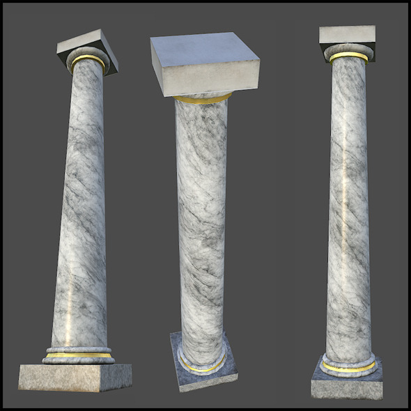 White Marble Column - 3DOcean Item for Sale