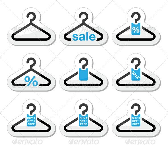 Sale, Hanger Icons Set - Concepts Business