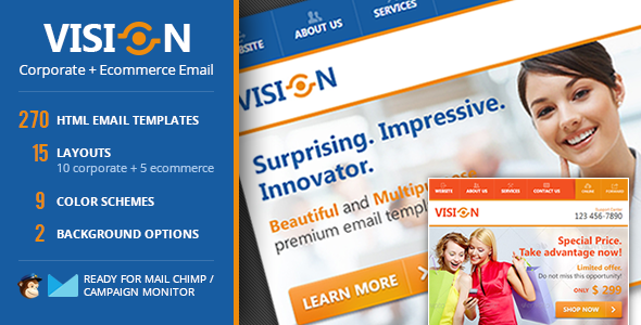 Vision Corporate Ecommerce Email Template By Janioaraujo - Ecommerce email templates free download