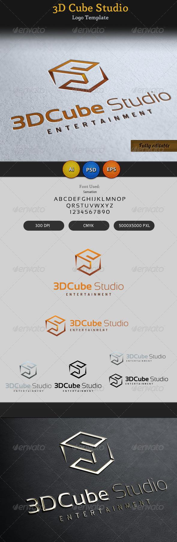 3D Cube Studio Entertainment Media Logo - 3d Abstract