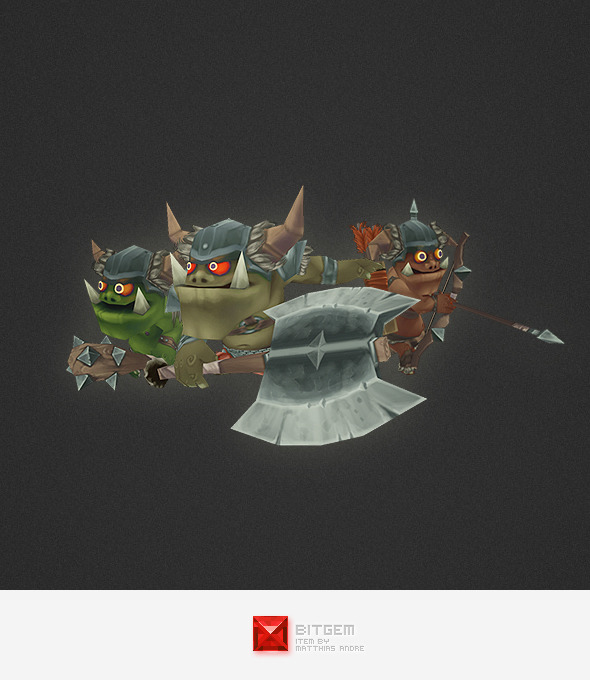 Low Poly Orc Character Set - 3DOcean Item for Sale