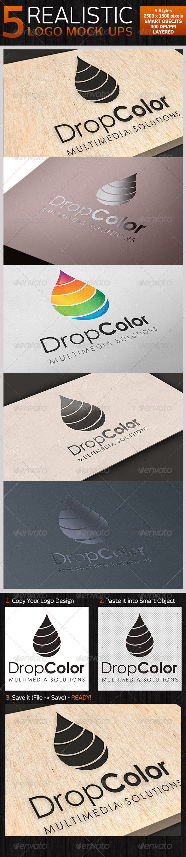 5 Realistic Logo Mock-ups - Set 1 - Logo Product Mock-Ups