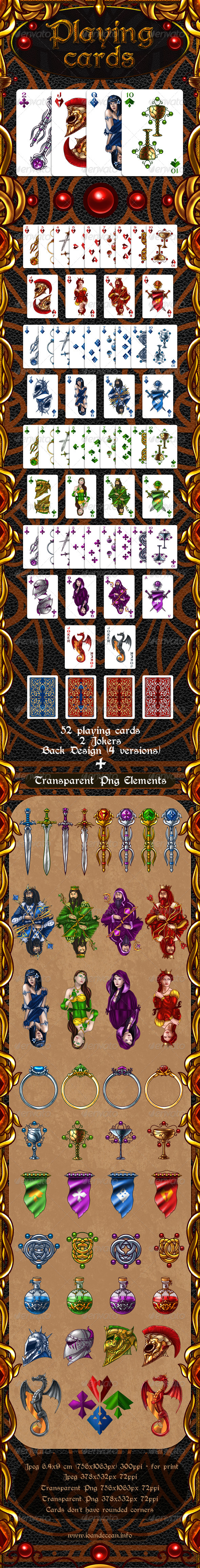 Full Deck of Fantasy Playing Cards  - Sprites Game Assets