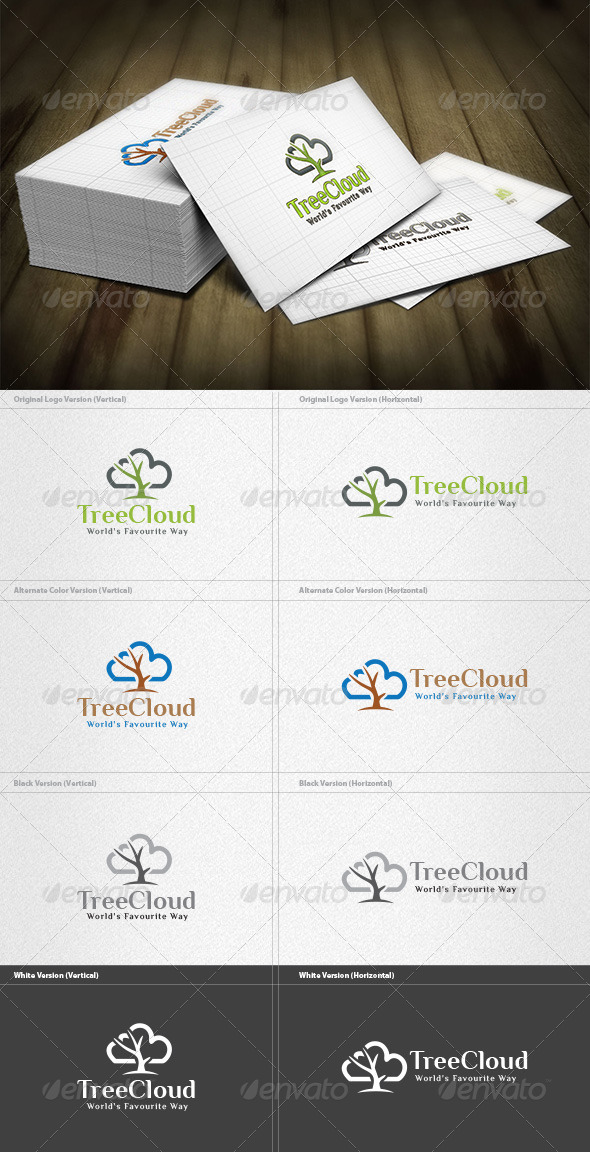 Tree Cloud Logo - Nature Logo Templates