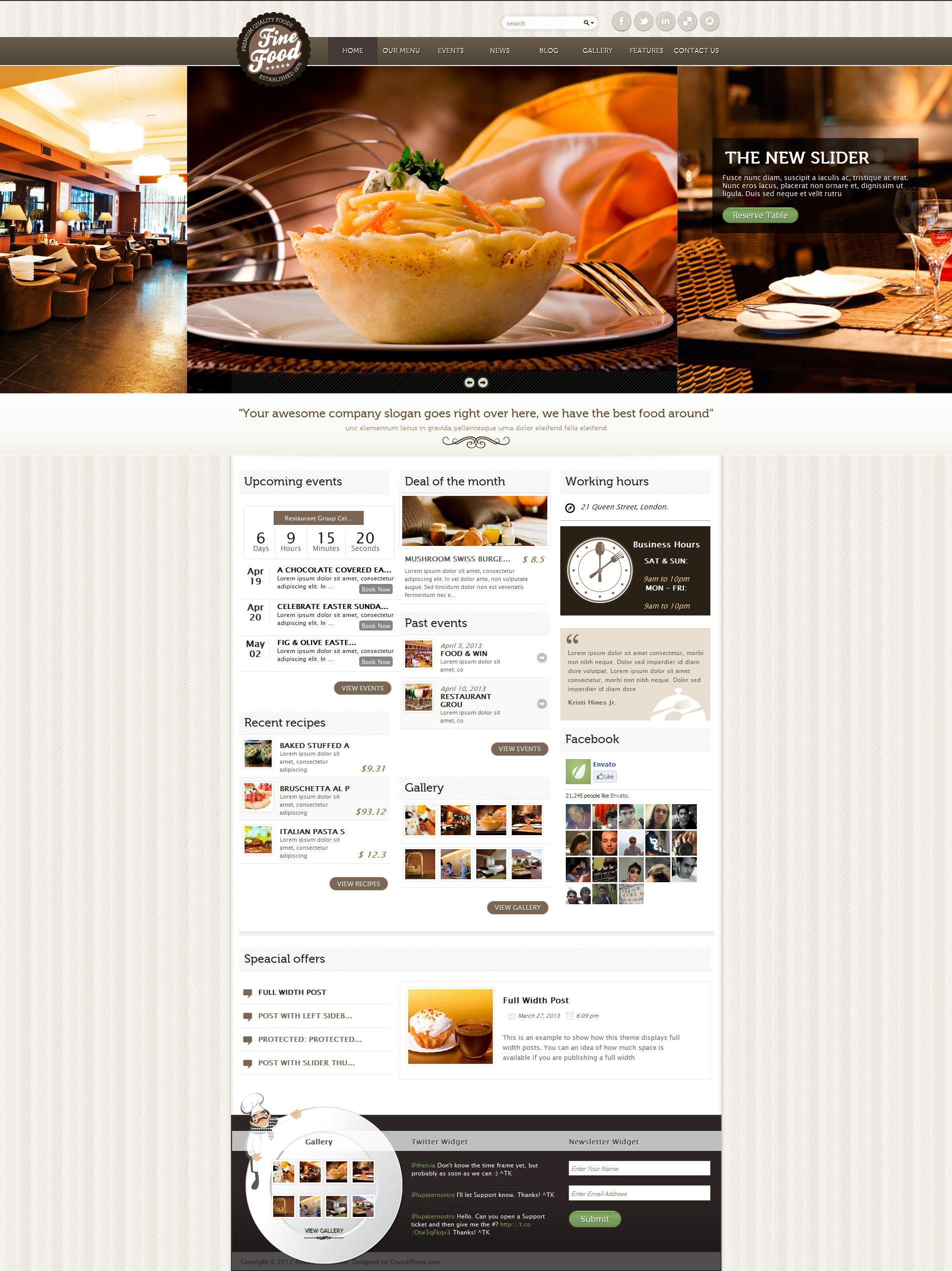 Fine food restaurant responsive wordpress theme by