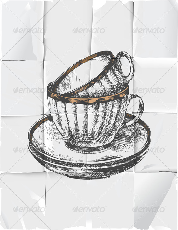 2 Cups with Saucers - Objects Vectors