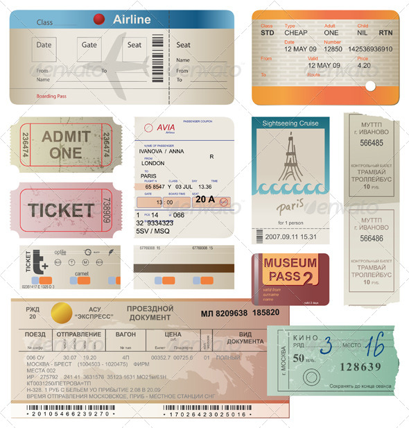 Tickets - Objects Vectors