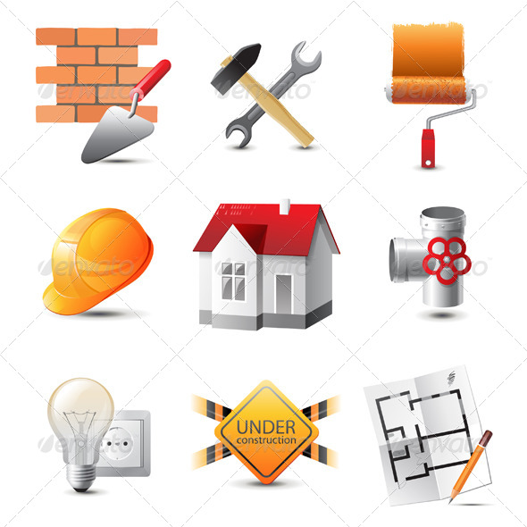 Building Icons - Objects Vectors