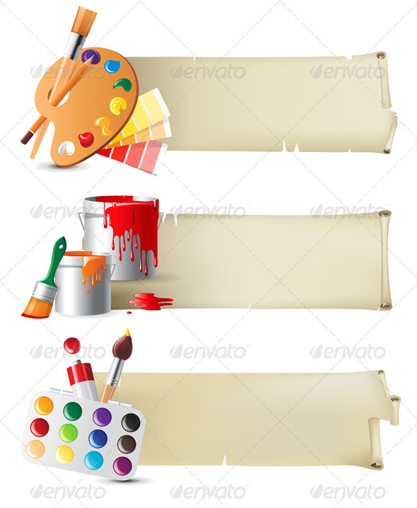 Banners with Drawing Tools - Retro Technology