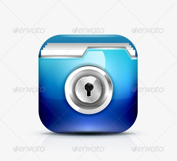 Locked Folder Icon / Folder Protection Concept - Web Elements Vectors