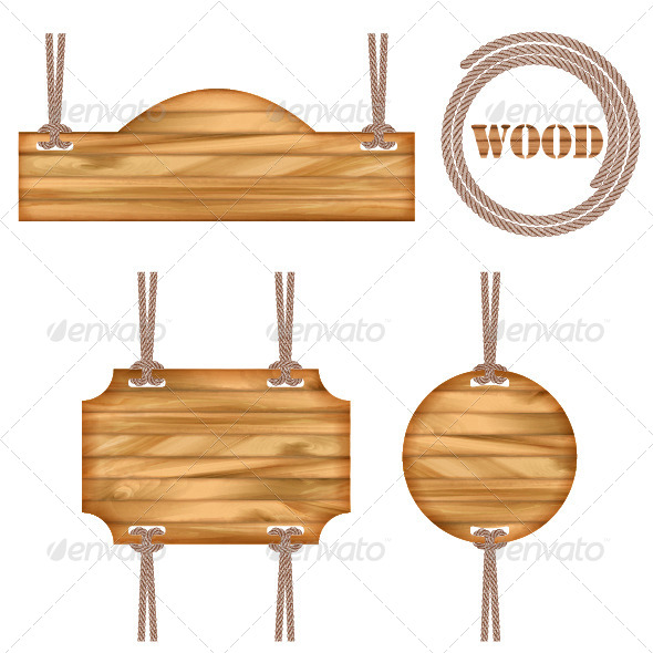 Wood Vector Frame Rope Design - Man-made Objects Objects