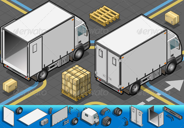 Isometric Container Refrigerator Truck - Objects Vectors
