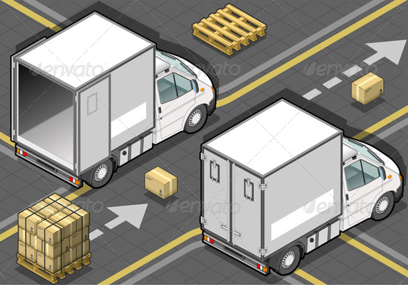 Isometric White Refrigerator Van in rear view - Objects Vectors