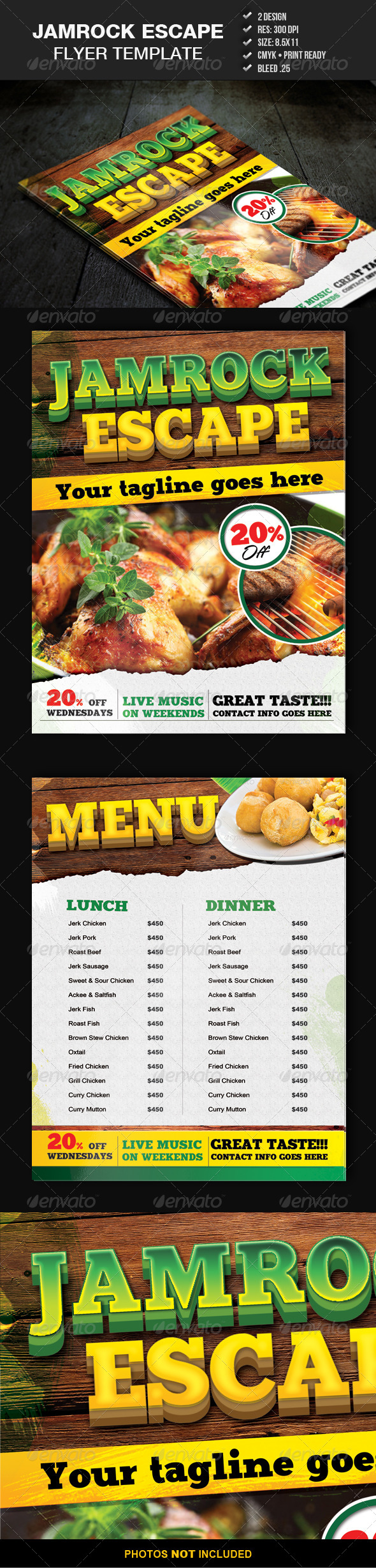 Jamrock Escape Flyer Template - Restaurant Flyers