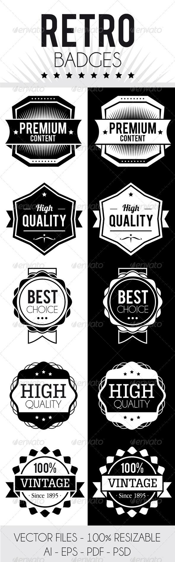 Retro Badges - Badges & Stickers Web Elements