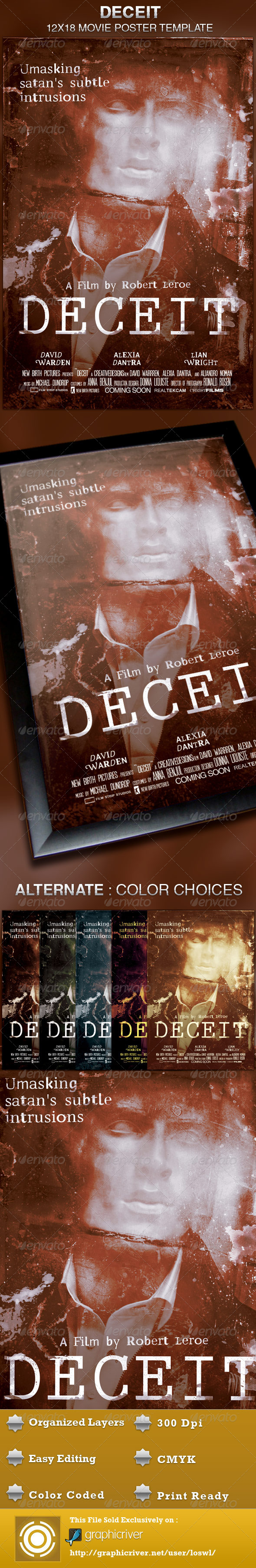 Deceit Movie Poster Template - Church Flyers