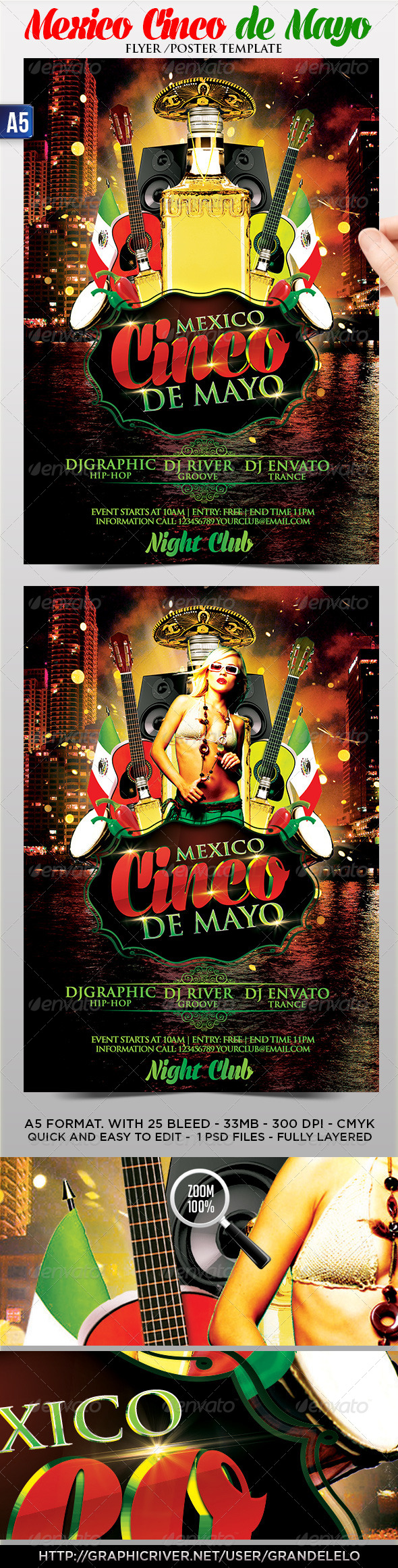 Cinco de Mayo Flyer Poster Template - Holidays Events