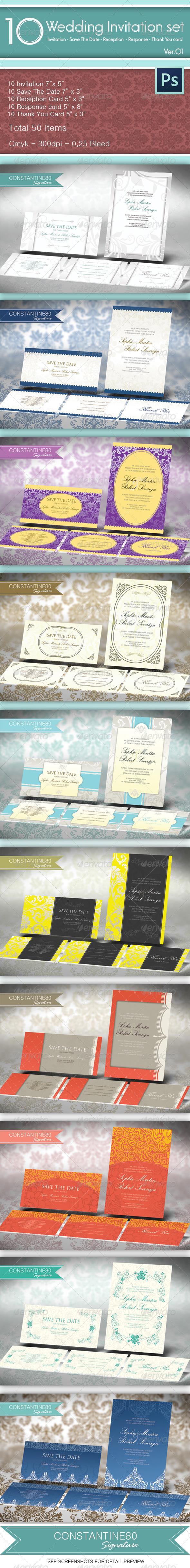 10 Wedding Invitations Sets - Invitations Cards & Invites