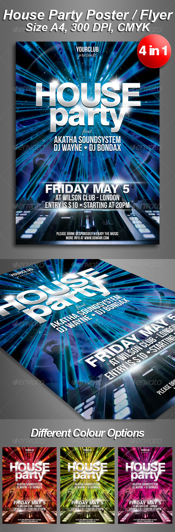A4 House Party Club Flyer 4 in 1 - Clubs & Parties Events